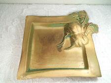 ältere Schale Keramik plastische Rüben ocker grün signiert TT/ 14 - 17 cm 400 gr