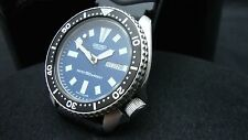 Vintage Seiko divers watch 6309 Auto DAY Date Mod BLUE DIAL BLACK BEZEL K16.