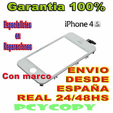 PANTALLA TACTIL PARA IPHONE 4S CON MARCO CRISTAL 4  TOUCH SCREEN BLANCO A+