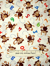 Monkey Numbers Animals C1581 Timeless Treasures 100% Cotton Fabric By The Yard