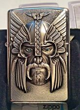 ZIPPO ( VIKING HEAD ) COLLECTABLE EMBLEM LIGHTER WITH GREEN CRYSTAL EYES NIB