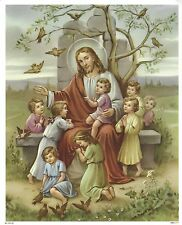 "Catholic Print Picture JESUS with 8 LITTLE CHILDREN 8x10"" ready to be framed"