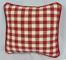 Pillow made w Ralph Lauren Cold Spring Red & Cream Gingham 9x9 NEW trim cord
