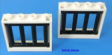 LEGO® weiß/schwarze Gefängnis/Gitter  1x4x3 Fenster / 2 Stück