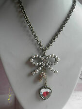 NB002 Couture Chic Betsey Vintage Style Pearl Bow Heart Rhineston Ball Necklace