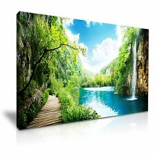 Tropical Rainforest Waterfall Canvas Landscape Wall Art Picture Print 76x50cm
