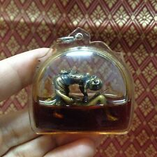 Chuchok Dum Na Lp Pin Old Khmer Art Oil Thai Amulet Brass Love Sex Lotto Gamble.