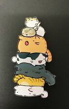 Funky Kitsch Quirky Stacking Tabby Cats Kittens Acrylic Brooch