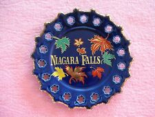 Niagara Falls Coblat Blue Plate w Leaves Brushed Gold Trim Scalloped Edge 7 1/4""