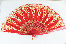 Spanish Style Red Dance Wedding Party Lace Silk Folding Hand Held Flower Fan