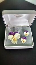 Pansy Necklace and Earring Set British Bone China