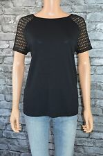 Women's Elegant Sleeveless Black Lace Round Neck T-Shirt Top Uk Size 18 / 20