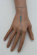New Women Silver Metal Hand Chain Wrist Bracelet Slave Ring Turquoise Blue Beads