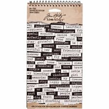 Tim Holtz idea-ology BIG CHAT Spiral Bound Word Stickers Black & White