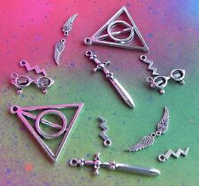 Harry Potter Deathly Hallows Silver Tone Charm Lot Wizard Lightning Sword Wings