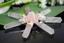 666 ~ 7 CHAKRA ROSE QUARTZ PYRAMID ENERGY GENERATOR ~ CRYSTAL HEALING POINTS