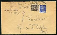 France - Enveloppe recommandé provisoire de Paris en 1946 , Gandon  réf F189