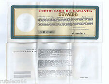 "DUWARD 100% genuine vintage papers ""Certificado de garantía"" UNUSED  (Spanish)"