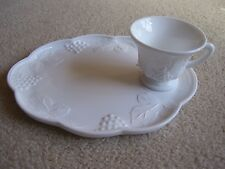 WHITE MILK GLASS GRAPES AND LEAVES SANDWICH PLATE WITH MATCHING CUP