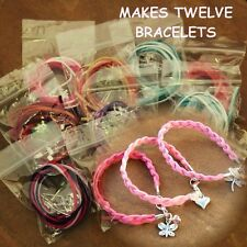 D / PK TWELVE MIX COLOUR SUEDE METAL CHARM BRACELET KITS CRYSTAL RONDELLE BEADS