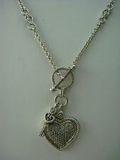 "Exceptional KEY & HEART PAVE DIAMOND Sterling Silver 925 18"" Designer Necklace"