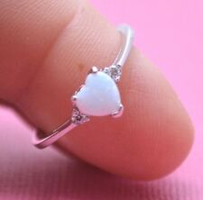 CUTE SHIMMERING WHITE OPAL HEART C.Z. STONE RING Genuine Sterling Silver Size 5