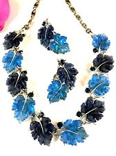 LISNER BLUE SHADES JELLY LUCITE RHINESTONE FLORAL OAK LEAF NECKLACE EARRINGS SET