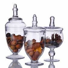 Clear Glass Apothecary Jars 3 Piece Set Decorative Weddings Candy Favour Bottle