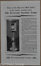 1929 EVEREADY Sunshine Lamp advertisement, National Carbon Co, arc lamp sun tan