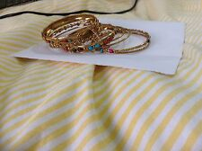 Indian  Hindi World Market Bracelet Bangle ~ Gold Metal & Colored Stones L/XL