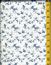 Blue Tiny Flower Clusters on White Cotton Quilt Fabric P&B Textiles BTY 863-B
