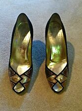 "Bruno Magli Size 8 Peep-toe Black & Metallic Leather Pumps Vintage 2 1/4"" Heel"