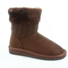Youth Girl Kid's Winter Cute Flat Heel Faux Fur Sweater Boot Shoes Size 9 - 4