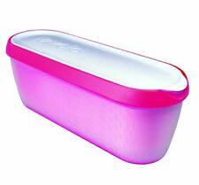 Tovolo Glide A Scoop Ice Cream Insulated Tub 1.5 Quart Storage Container Pink