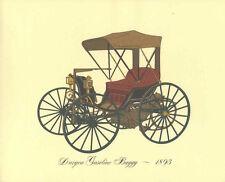 Antique Print Car 1893 Duryea Gasoline Buggy Lithograph Vintage Automobile