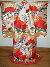 Gold Silk Japanese Uchikake Wedding Kimono - Flying Cranes & Waves