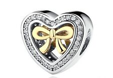 Bound by Love Bow Heart Genuine High Quality Silver 925 Pedant Charm +Gift Pouch