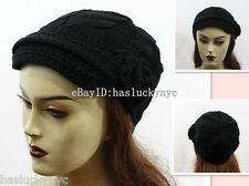New Style Winter Women Knitted Hat With Flower/Cloche/SKi Style Cap-Black