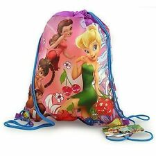 Sling Bag Tote Drawstring Non-Woven Disney Tinkerbell Fairy Friends NEW