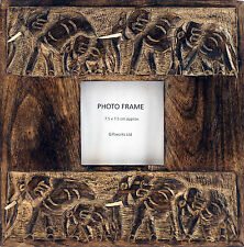 Wooden Elephant Ethnic / African Design Photo Frame - 7.5 x 7.5 Photograph