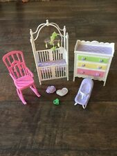 Mattel BARBIE Doll Nursery Baby Crib Accessories rocking Playset Vintage