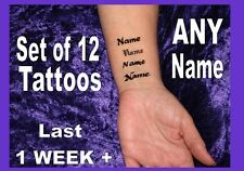 Temporary ur NAME TATTOOS INNER WRIST X12 personalised small custom SMALL FONTS