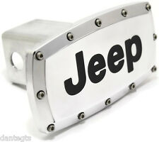 """Jeep Logo 2"""" Tow Hitch Cover Plug Engraved Billet Aluminum"""