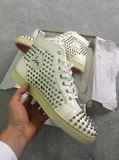 Christian Louboutin Louis Flat Spikes In White Patent **RARE** 100% Authentic