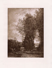 """Outstanding 1800s Jean-Baptiste-Camille Corot Antique Print """"Wood and Lake"""" COA"""