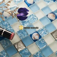 crystal blue glass sea shell kitchen backsplash tiles bathroom mosaic EHGM1074