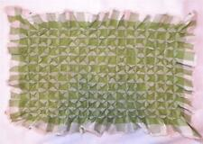 Vintage Pillow Cover Green & White Gingham Cotton Fabric Smocked Lace Trim