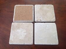VLB#2 FOUR (4) NATURAL STONE ABSORBENT TUMBLED TRAVERTINE COASTERS  #3