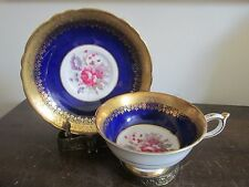 Paragon England By Appointment Tea Cup And Saucer Rose Flowers Cobalt Blue Gold
