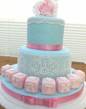 Edible Pink Name Blocks Christening Birthday Baby Up To 8 Blocks For One Price